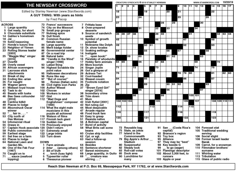 Newsday Crossword Sunday for Oct 20, 2019