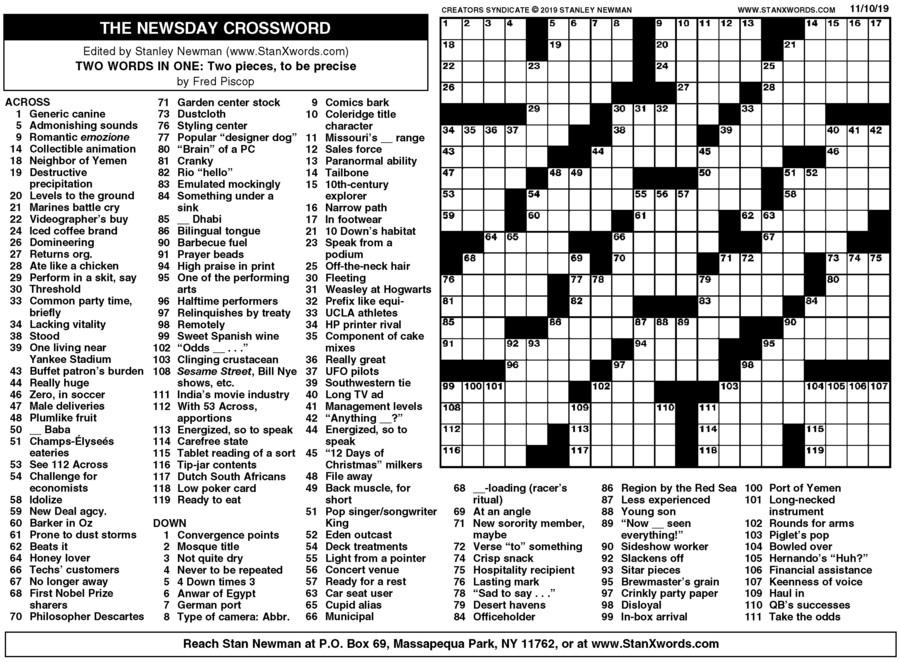 Newsday Crossword Sunday for Nov 10, 2019