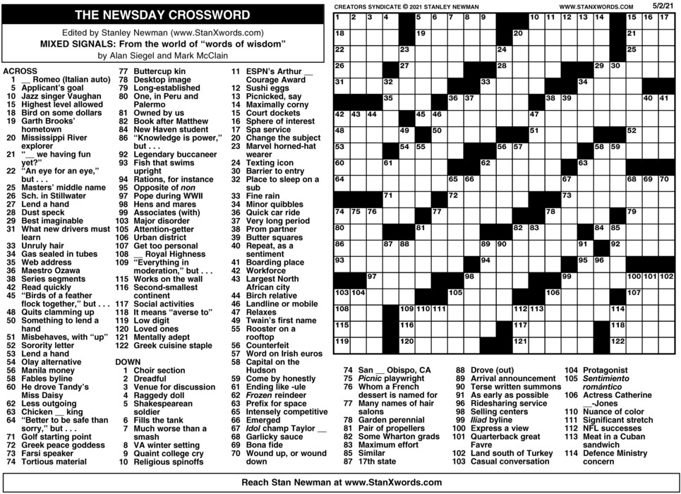 Newsday Crossword Sunday for May 02, 2021