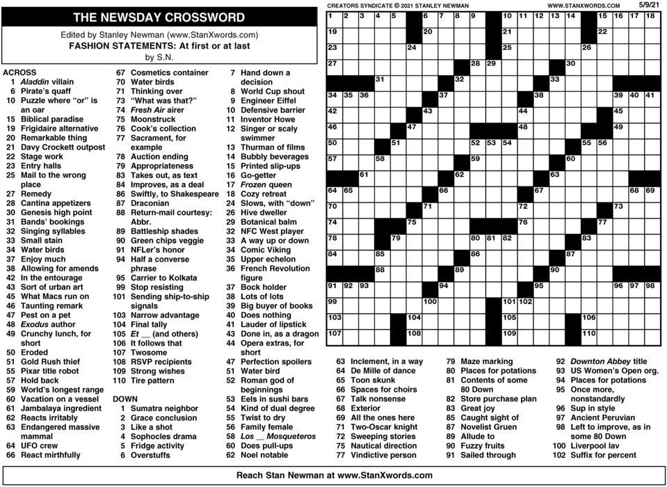 Newsday Crossword Sunday for May 09, 2021