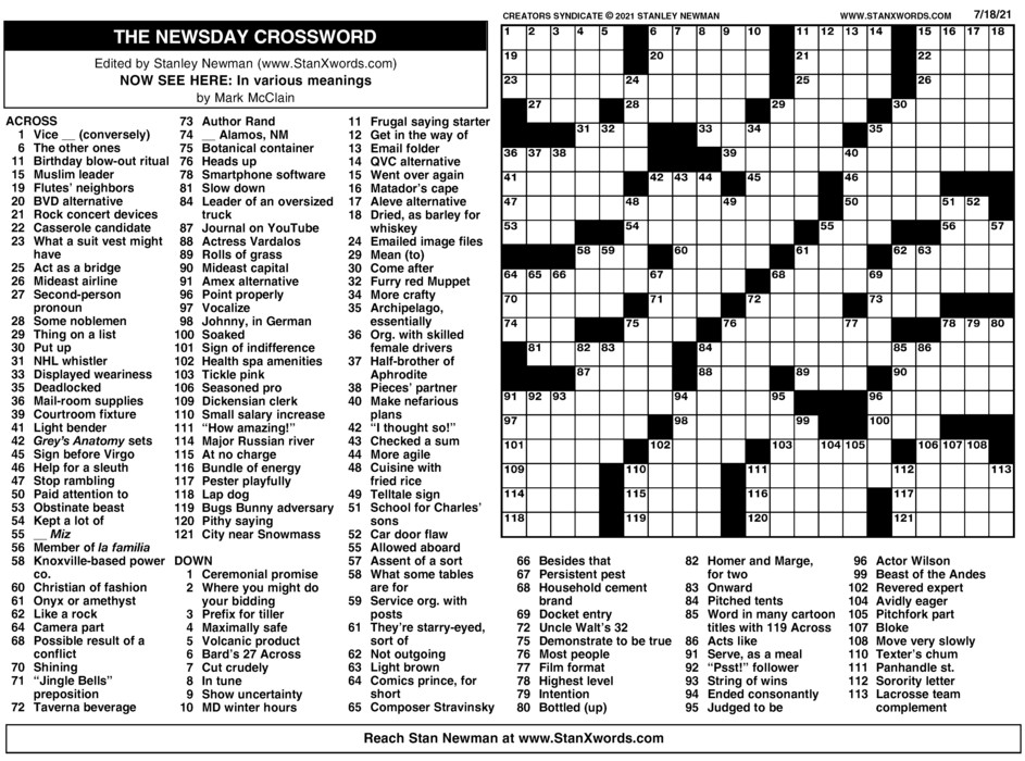 Newsday Crossword Sunday for Jul 18, 2021
