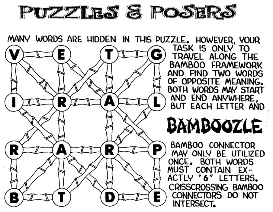 Puzzles and Posers for Dec 01, 2019