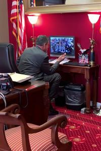 Sen. Joe Manchin greets a Webster County High School civics class via Skype.
